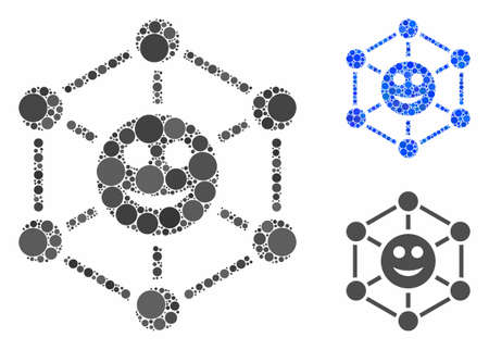 Smile network composition of filled circles in different sizes and color tones, based on smile network icon. Vector filled circles are combined into blue mosaic. Çizim