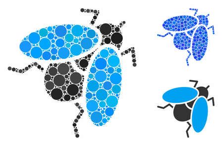 Fly insect composition of small circles in various sizes and shades, based on fly insect icon. Vector small circles are united into blue composition. Dotted fly insect icon in usual and blue versions.