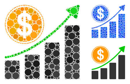 Dollar growth chart composition of filled circles in different sizes and color hues, based on dollar growth chart icon. Vector filled circles are united into blue composition. Çizim