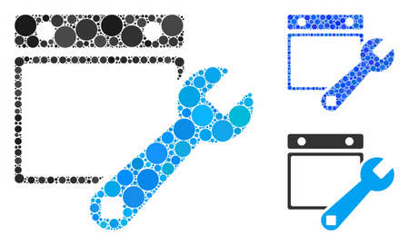 Date setup mosaic of round dots in variable sizes and color hues, based on date setup icon. Vector round dots are composed into blue mosaic. Dotted date setup icon in usual and blue versions.