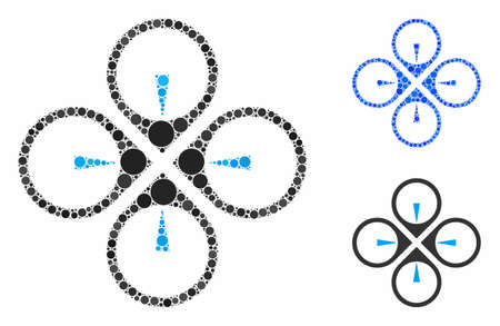 Fly drone mosaic of small circles in different sizes and color tinges, based on fly drone icon. Vector small circles are grouped into blue mosaic. Dotted fly drone icon in usual and blue versions.