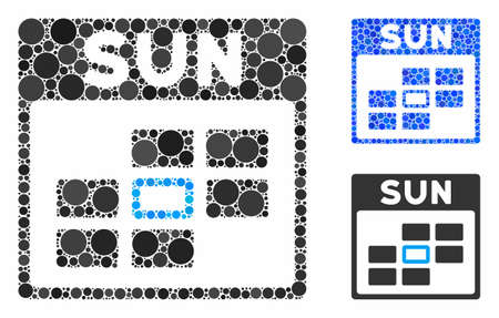 Sunday calendar grid mosaic of spheric dots in variable sizes and shades, based on Sunday calendar grid icon. Vector circle elements are combined into blue mosaic.