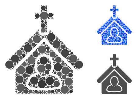 Church person composition of spheric dots in various sizes and color tints, based on church person icon. Vector round dots are composed into blue composition.