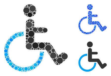Disabled person composition of round dots in different sizes and shades, based on disabled person icon. Vector round elements are united into blue composition. Ilustrace