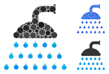 Shower composition of small circles in various sizes and color tinges, based on shower icon. Vector small circles are united into blue composition. Dotted shower icon in usual and blue versions.