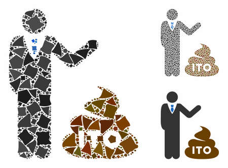 Businessman show ITO shit composition of tremulant items in variable sizes and color tints, based on businessman show ITO shit icon. Vector trembly pieces are grouped into composition.