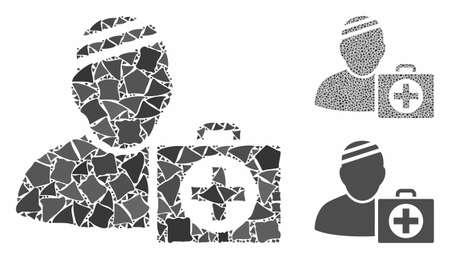 Patient first aid case mosaic of ragged parts in various sizes and color tones, based on patient first aid case icon. Vector ragged parts are organized into composition.