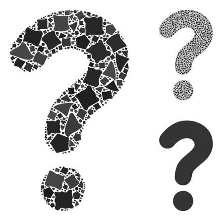 Question composition of joggly pieces in various sizes and color hues, based on question icon. Vector joggly parts are combined into collage. Question icons collage with dotted pattern.