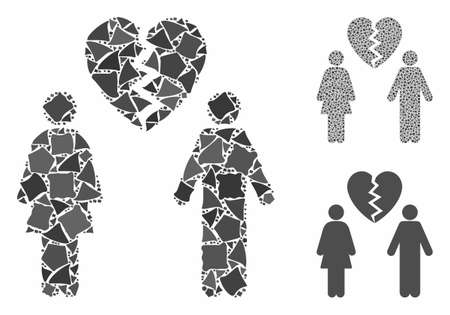 Family divorce mosaic of irregular parts in different sizes and shades, based on family divorce icon. Vector tuberous parts are composed into mosaic. Family divorce icons collage with dotted pattern. Illusztráció