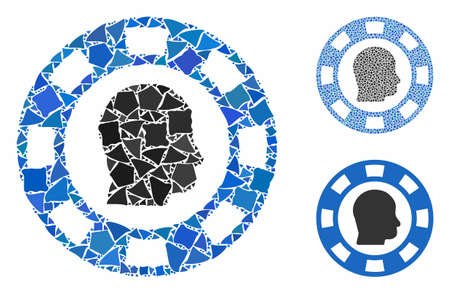 Personal casino chip mosaic of trembly items in variable sizes and color tinges, based on personal casino chip icon. Vector uneven items are united into collage.