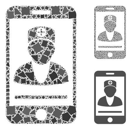 Mobile doctor composition of rough parts in various sizes and color tones, based on mobile doctor icon. Vector trembly parts are grouped into composition.