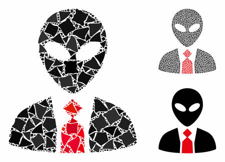 Alien boss composition of rough pieces in various sizes and color tints, based on alien boss icon. Vector tremulant pieces are combined into collage. Alien boss icons collage with dotted pattern. Illusztráció