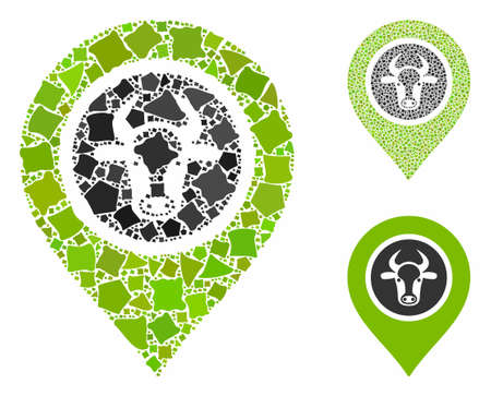 Cow marker composition of joggly pieces in variable sizes and color hues, based on cow marker icon. Vector joggly pieces are combined into collage. Cow marker icons collage with dotted pattern.