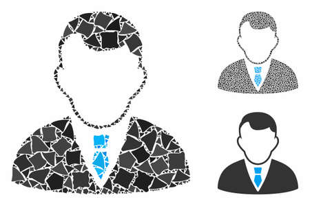 Manager mosaic of rugged parts in different sizes and color tones, based on manager icon. Vector rugged items are grouped into composition. Manager icons collage with dotted pattern.