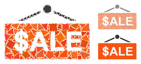 Sale nameplate mosaic of abrupt elements in various sizes and color tints, based on sale nameplate icon. Vector rough elements are organized into collage.