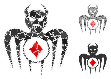 Gambling spectre devil composition of uneven parts in different sizes and shades, based on gambling spectre devil icon. Vector raggy parts are combined into composition. Illustration