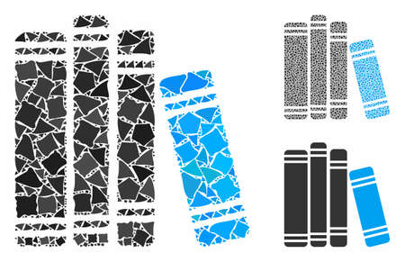 Book library mosaic of rough parts in different sizes and color tones, based on book library icon. Vector tremulant parts are composed into mosaic. Book library icons collage with dotted pattern. 矢量图像
