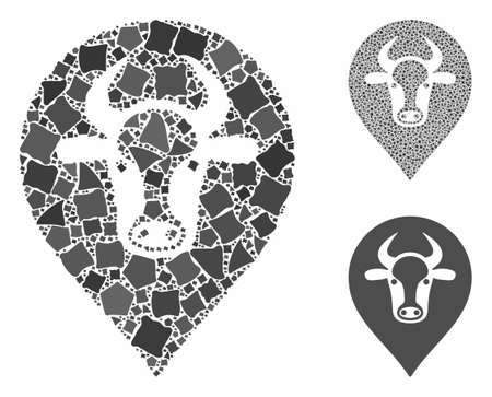 Cow map marker mosaic of ragged pieces in different sizes and color tones, based on cow map marker icon. Vector ragged pieces are combined into collage.