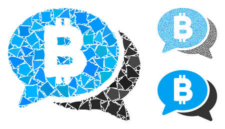Bitcoin chat mosaic of tuberous items in variable sizes and shades, based on Bitcoin chat icon. Vector unequal items are organized into mosaic. Bitcoin chat icons collage with dotted pattern.