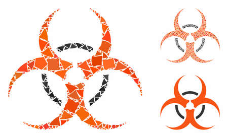 Biohazard mosaic of rugged parts in variable sizes and color tones, based on biohazard icon. Vector rugged parts are combined into mosaic. Biohazard icons collage with dotted pattern.