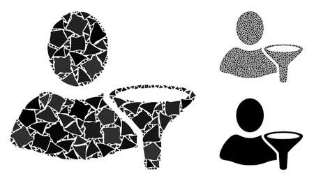 User filter mosaic of rough items in various sizes and shades, based on user filter icon. Vector trembly elements are composed into mosaic. User filter icons collage with dotted pattern.