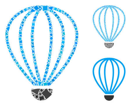 Aerostat mosaic of rugged elements in different sizes and color tints, based on aerostat icon. Vector joggly elements are composed into mosaic. Aerostat icons collage with dotted pattern.