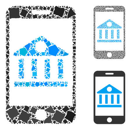 Mobile bank composition of humpy pieces in variable sizes and shades, based on mobile bank icon. Vector rough pieces are grouped into composition. Mobile bank icons collage with dotted pattern.