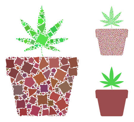 Cannabis pot mosaic of ragged elements in different sizes and color hues, based on cannabis pot icon. Vector ragged items are organized into collage. Cannabis pot icons collage with dotted pattern.