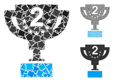 Second prize cup mosaic of rugged elements in various sizes and color tinges, based on second prize cup icon. Vector rugged elements are united into collage. 矢量图像