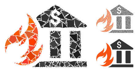 Bank fire disaster composition of inequal pieces in different sizes and shades, based on bank fire disaster icon. Vector tremulant pieces are combined into composition.