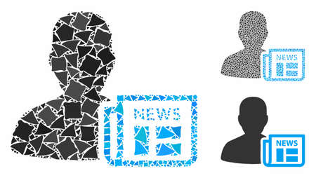 Newsmaker newspaper mosaic of tuberous parts in different sizes and color hues, based on newsmaker newspaper icon. Vector abrupt parts are combined into mosaic.
