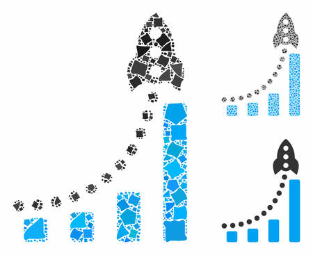 Rocket success bar chart mosaic of irregular elements in various sizes and color tones, based on rocket success bar chart icon. Vector irregular elements are grouped into mosaic. Stock fotó - 133093131