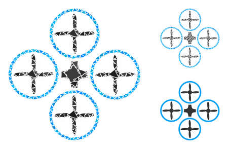 Quadcopter composition of humpy pieces in various sizes and color tinges, based on quadcopter icon. Vector ragged pieces are combined into composition. Quadcopter icons collage with dotted pattern.