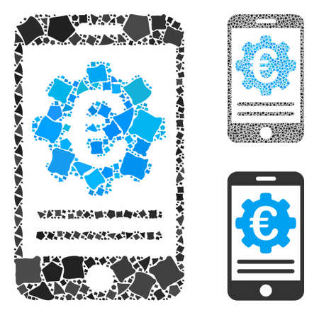 Euro mobile banking configuration composition of rough elements in various sizes and color tints, based on Euro mobile banking configuration icon. Vector joggly elements are composed into composition.