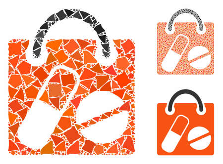 Drugs shopping bag mosaic of trembly pieces in variable sizes and color tints, based on drugs shopping bag icon. Vector unequal items are united into collage.