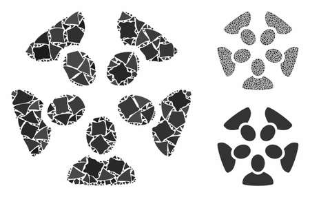 Team composition of raggy items in different sizes and color tints, based on team icon. Vector raggy elements are combined into illustration. Team icons collage with dotted pattern. Stock Illustratie