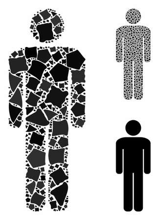 Man composition of rugged elements in different sizes and color tones, based on man icon. Vector humpy elements are composed into collage. Man icons collage with dotted pattern.