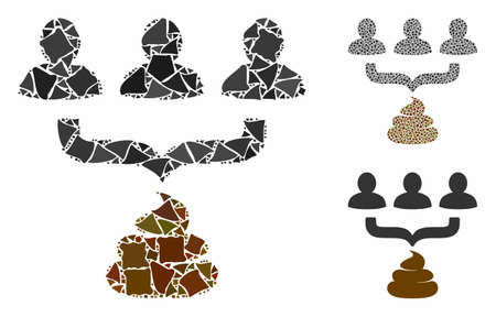 Human shit aggregator funnel mosaic of rough items in variable sizes and shades, based on human shit aggregator funnel icon. Vector uneven items are organized into mosaic. Stock Illustratie