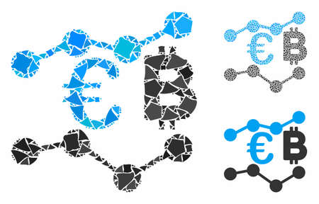 Euro Bitcoin charts mosaic of inequal pieces in various sizes and shades, based on Euro Bitcoin charts icon. Vector inequal pieces are composed into composition. Stock fotó - 133093290