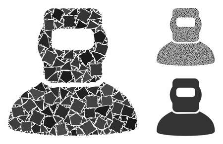 Welder composition of raggy elements in variable sizes and color tints, based on welder icon. Vector ragged elements are composed into composition. Welder icons collage with dotted pattern.