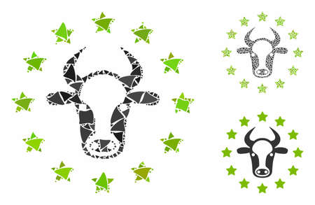 Starred bull composition of raggy parts in variable sizes and color tones, based on starred bull icon. Vector unequal dots are composed into collage. Starred bull icons collage with dotted pattern.