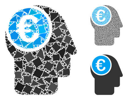 Euro mind mosaic of abrupt elements in different sizes and shades, based on euro mind icon. Vector unequal elements are composed into mosaic. Euro mind icons collage with dotted pattern.