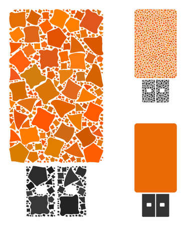 USB flash drive mosaic of bumpy elements in different sizes and color tones, based on USB flash drive icon. Vector tuberous elements are combined into mosaic.