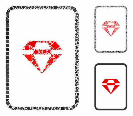 Ruby gambling card composition of tremulant parts in various sizes and color tones, based on ruby gambling card icon. Vector uneven parts are combined into composition.