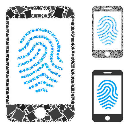 Mobile fingerprint authorization composition of tremulant pieces in various sizes and color hues, based on mobile fingerprint authorization icon. Vector joggly pieces are organized into collage. Illusztráció