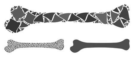 Bone mosaic of rough elements in various sizes and color tinges, based on bone icon. Vector tuberous dots are composed into collage. Bone icons collage with dotted pattern.