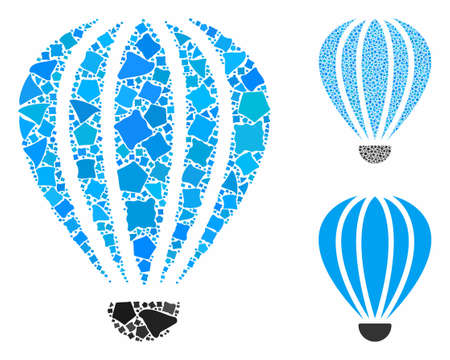 Aerostat mosaic of joggly elements in variable sizes and color tinges, based on aerostat icon. Vector raggy elements are composed into mosaic. Aerostat icons collage with dotted pattern.