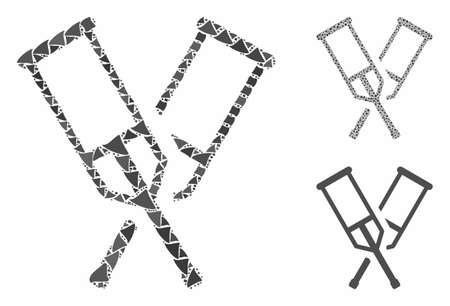 Crutches mosaic of tremulant pieces in various sizes and color tinges, based on crutches icon. Vector humpy pieces are combined into mosaic. Crutches icons collage with dotted pattern.
