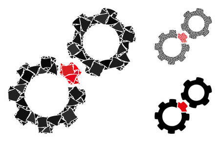 Damaged gears composition of trembly parts in various sizes and color tints, based on damaged gears icon. Vector abrupt parts are grouped into collage. Damaged gears icons collage with dotted pattern.