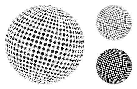 Abstrakte gepunktete Kugelkomposition aus holprigen Elementen in variablen Größen und Farbtönen, basierend auf dem abstrakten gepunkteten Kugelsymbol. Zerlumpte Vektorelemente werden in Collagen gruppiert.